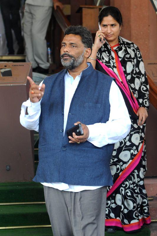 RJD MP from Madhepura (Bihar) Pappu Yadav at the Parliament in New Delhi on Aug 14, 2014. - Pappu Yadav