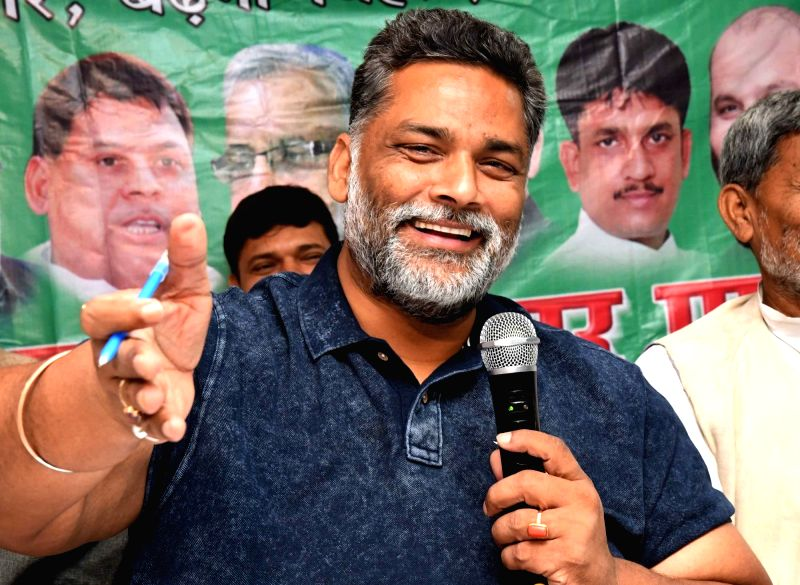 RJD MP Rajesh Ranjan alias Pappu Yadav addresses a press conference in Patna on April 29, 2017. - Pappu Yadav