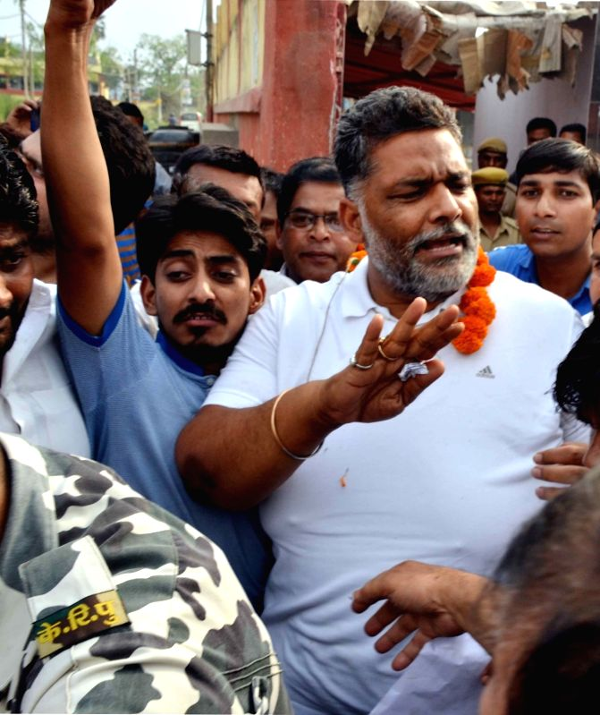 RJD MP Rajesh Ranjan alias Pappu Yadav released from Beur Central Jail here after 25 days following his arrest on March 27; in Patna, on April 21, 2017. Yadav was arrested from his residence ... - Pappu Yadav