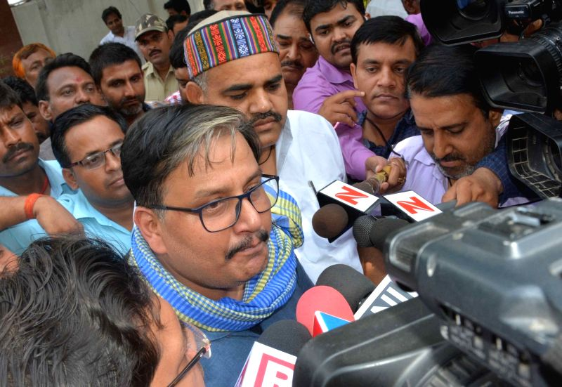 RJD spokesperson Manoj Jha addresses talks to press in Patna on May 16, 2017.