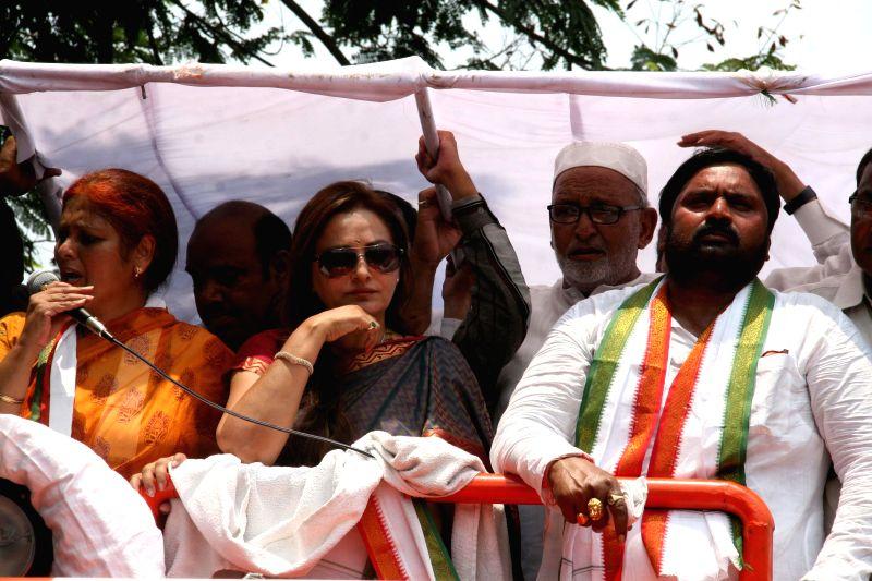 RLD's Bijnor candidate Jaya Prada campaigns for Congress leaders Anjan Kumar Yadav and Jayasudha Kapoor in Secunderabad of Andhra Pradesh on April 27, 2014. - Anjan Kumar Yadav and Jayasudha Kapoor