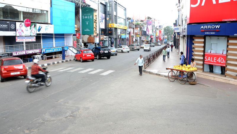 Roads of Bangalore wear a deserted look as Kannada outfits call for a 12-hour strike against crime against women on July 31, 2014.