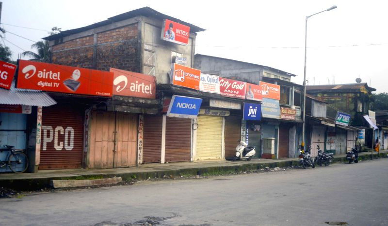 Roads wear a deserted look during a 24 hour bandh called by NDFB-Songbijit faction in Kokrajhar and other BTAD regions in Kokrajhar on Aug 22, 2014.