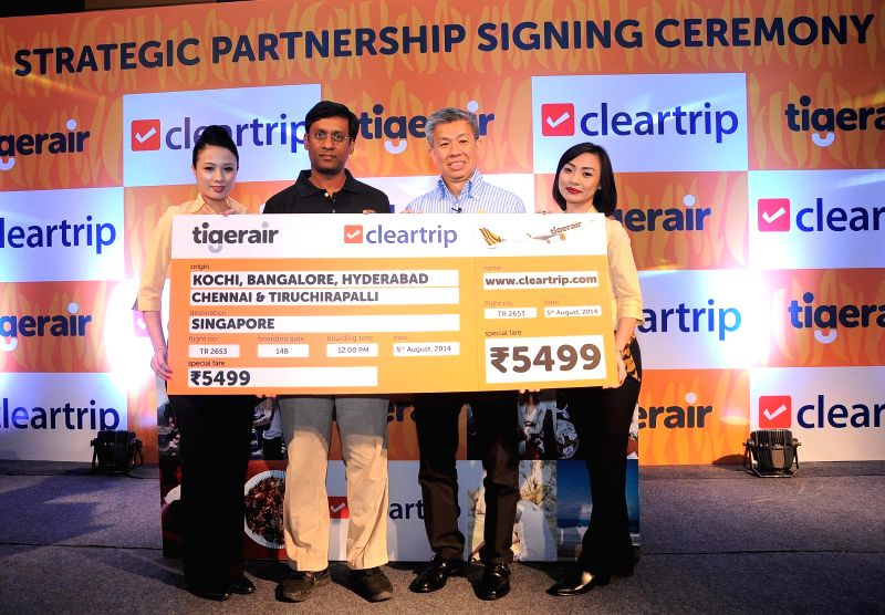 Robert Yang- Commercial Director, Tigerair (R) along with Samyukth Sridharan, President and Chief Operating Officer, Cleartrip (L) announcing strategic distribution partnership with Cleartrip, a ...