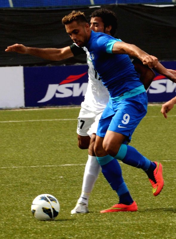 Robin Singh of India in action during a friendly football match against Pakistan at Bangalore Football Stadium on Aug 17, 2014. India won. Score: 1-0. - Singh
