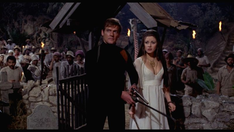 "Roger Moore in his first James Bond outing in ""Live and Let Die\"" (1973)"