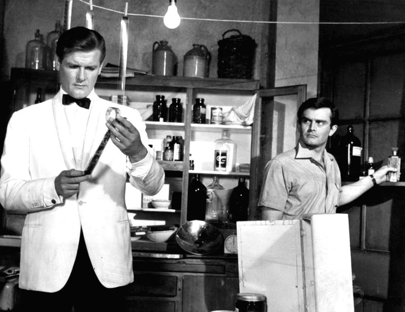 "Roger Moore in his most-famous pre-James Bond role - as the ""Saint\"" in the long-running 1960s TV show"