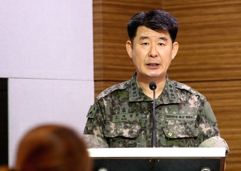 Roh Jae-cheon, spokesman for the Joint Chiefs of Staff (JCS), briefs reporters in Seoul on June 8, 2017, on North Korea's missile launches earlier in the day. The JCS said the North fired ...
