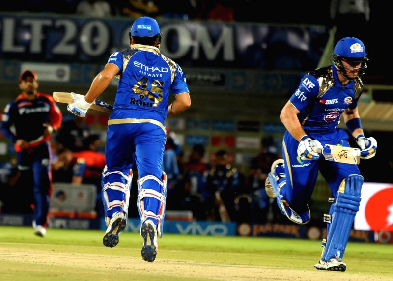 Rohit Sharma and Martin Guptill of Mumbai Indians in action during an IPL match between Mumbai Indians and Delhi Daredevils at Dr YS Rajasekhara Reddy ACA-VDCA Cricket Stadium in ... - Rohit Sharma and Rajasekhara Reddy A