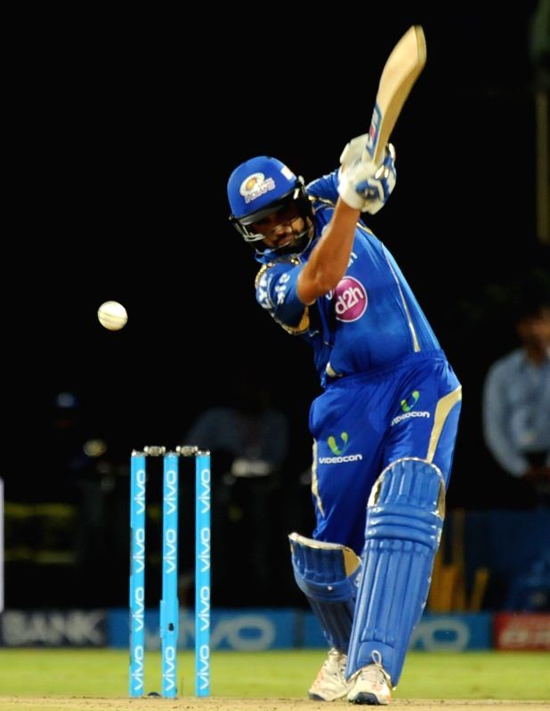 Rohit Sharma of Mumbai Indians in action during an IPL match between Mumbai Indians and Delhi Daredevils at Dr YS Rajasekhara Reddy ACA-VDCA Cricket Stadium in Visakhapatnam on May 15, ... - Rohit Sharma and Rajasekhara Reddy A