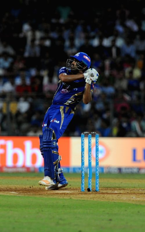 Rohit Sharma of Mumbai Indians in action during an IPL 2017 match between Mumbai Indians and Rising Pune Supergiant at Wankhede Stadium in Mumbai on April 24, 2017. - Rohit Sharma