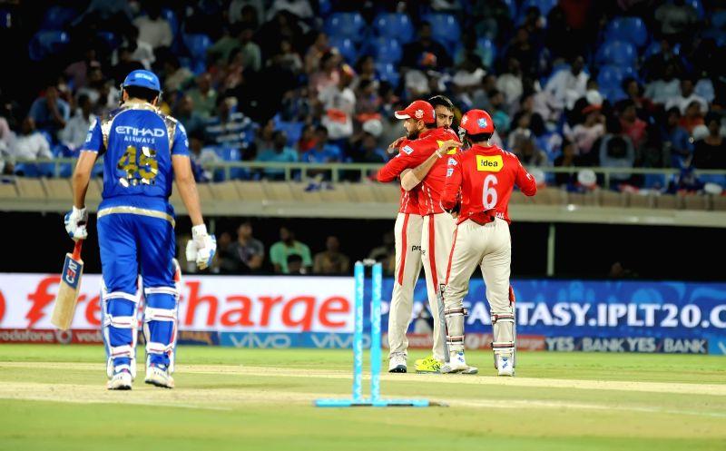 Rohit Sharma of Mumbai Indians walks back to the pavilion after getting dismissed during an IPL match between Mumbai Indians and Kings XI Punjab at Dr YS Rajasekhara Reddy ACA-VDCA ... - Rohit Sharma and Rajasekhara Reddy A