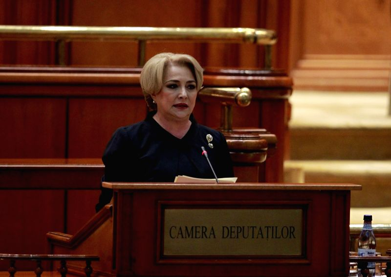 :Romanian Prime Minister-designate Viorica Dancila speaks during a vote of confidence at the parliament building in Bucharest, Romania, on Jan. 29, 2018. ...