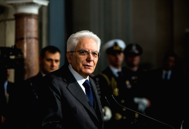 ROME, April 13, 2018 - Italian President Sergio Mattarella speaks to the media at the end of the second day of consultations at the Quirinale Palace in Rome, capital of Italy, on April 13, 2018. The ...