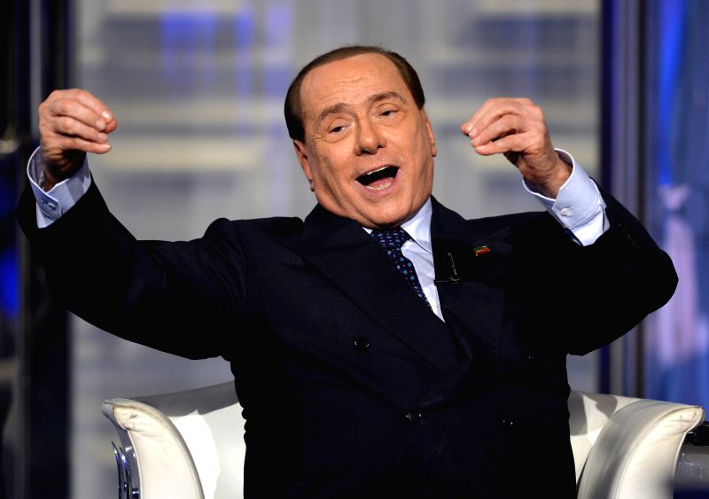 "Italian former Prime Minister, Forza Italia Party leader Silvio Berlusconi records a TV programme named ""door to door"" in Rome, Italy, April 24, 2014. ..."