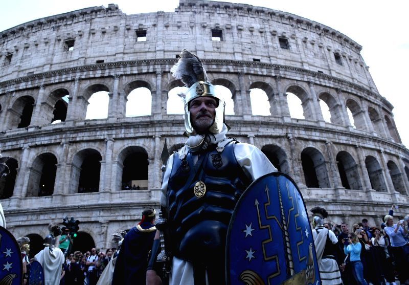 ROME, April 24, 2017 - Performers take part in a parade in Rome, capital of Italy, April 23, 2016. The city of Rome turned 2770 Friday after its legendary foundation by Romulus in 753 BC. People ...
