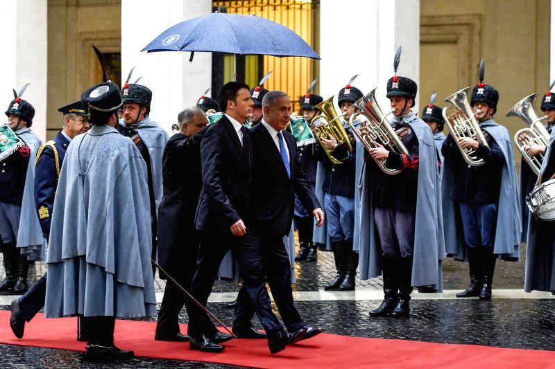 Italian Prime Minister Matteo Renzi holds a welcoming ceremony for the visiting Israeli Prime Minister Benjamin Netanyahu in Rome, Italy, on Dec. 15, 2014. ... - Matteo Renzi