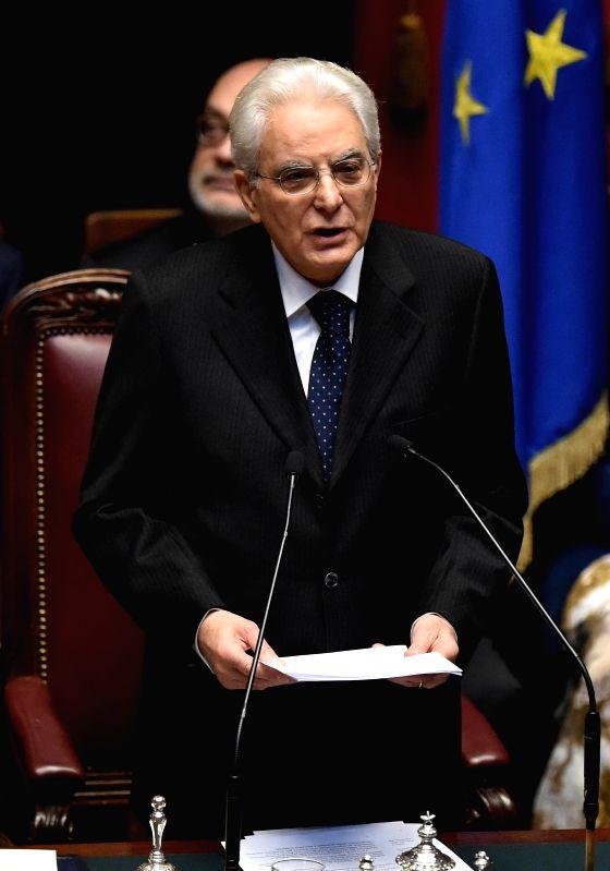 Newly elected President Sergio Mattarella delivers a speech at the Parliament in Rome, Feb. 3, 2015. Sergio Mattarella, 73, a former constitutional judge, was sworn in ...