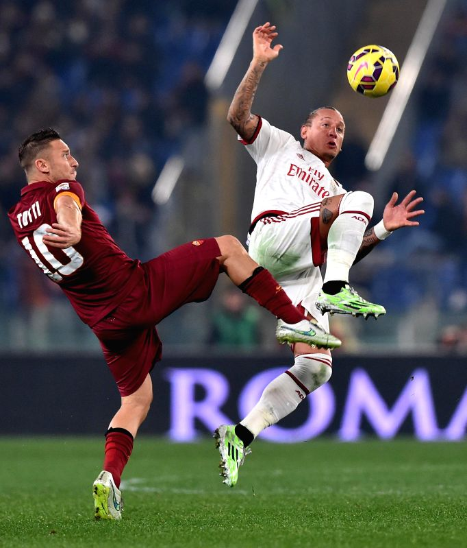 Francesco Totti of AS Roma in action during a Serie A match between AS Roma and AC Milan at Stadio Olimpico in Rome, Italy on Dec 20, 2014.