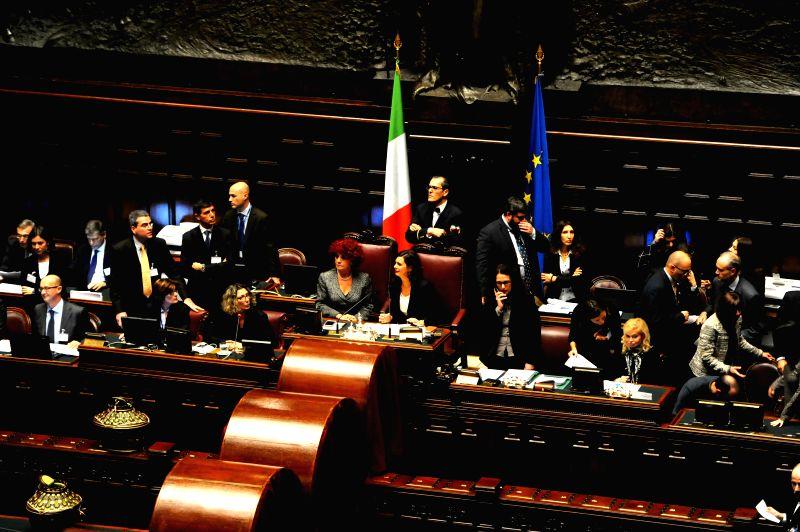 Italian Lower House President Laura Boldrini(R, center) and Senate vice president Valeria Fedeli(L, center) co-host the voting for a new president in Rome, Italy, on ..