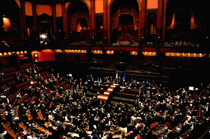 Photo taken on Jan. 29, 2015 shows a general view of the voting in Italian Parliament in Rome, Italy. Italian parliament gathered in joint session of both Houses on ...