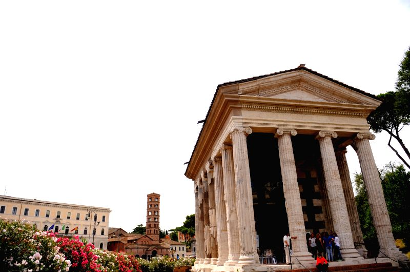 Photo taken on July 10, 2014 shows the reopened Temple of Portunus in Rome, capital of Italy. The Temple of Portunus reopened here Wednesday after a long time ...