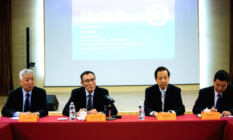 ROME, June 12, 2018 - China Society for Human Rights Studies (CSHRS) President Qiangba Puncog (2nd L) speaks at a press conference in Rome, Italy on June 8, 2018. A delegation of the CSHRS led by ...