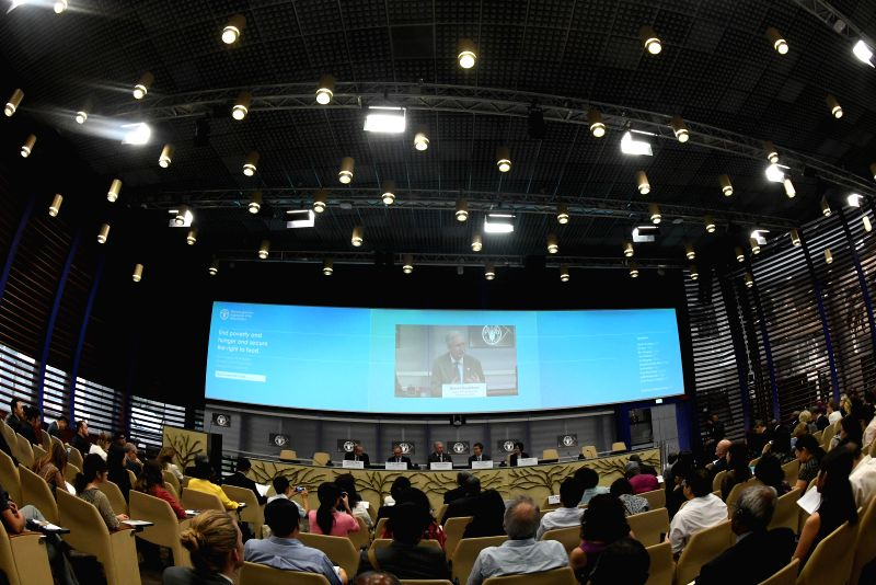 "ROME, June 7, 2018 - A UN Food and Agriculture Organization side-event titled ""End poverty and hunger and secure the right to food"" is held at the UN Food and Agriculture Organization (FAO) ..."