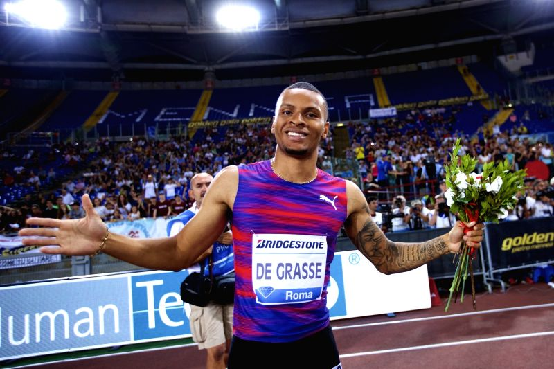 ROME, June 9, 2017 - Andre De Grasse of Canada celebrates after the men's 200m event at the Rome's Golden Gala Pietro Mennea, part of IAAF Diamond League competition in Rome, Italy, June 8, 2017. ...
