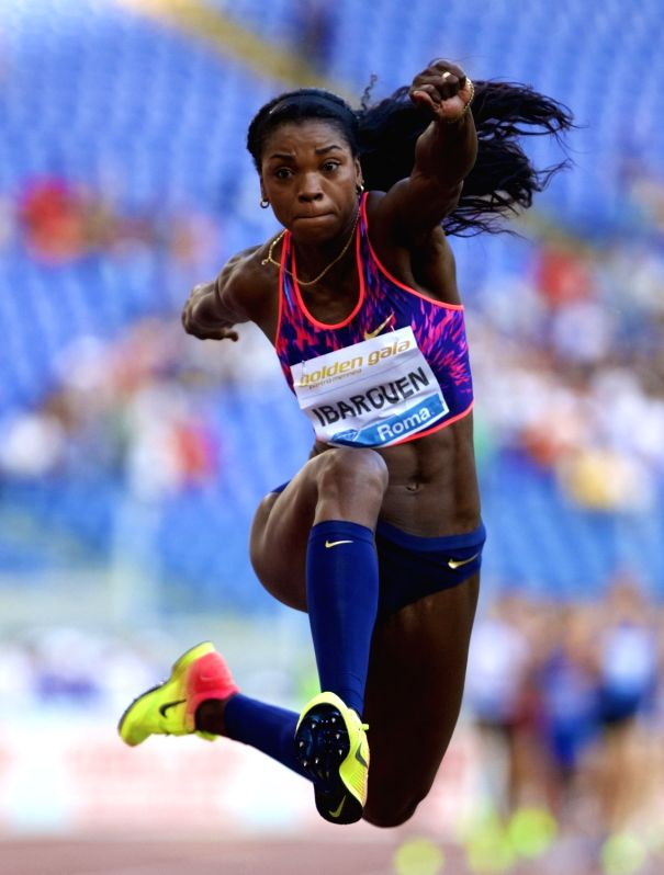 ROME, June 9, 2017 - Caterine Ibarguen of Colombia competes during the women's triple jump event at the Rome's Golden Gala Pietro Mennea, part of IAAF Diamond League competition in Rome, Italy, June ...