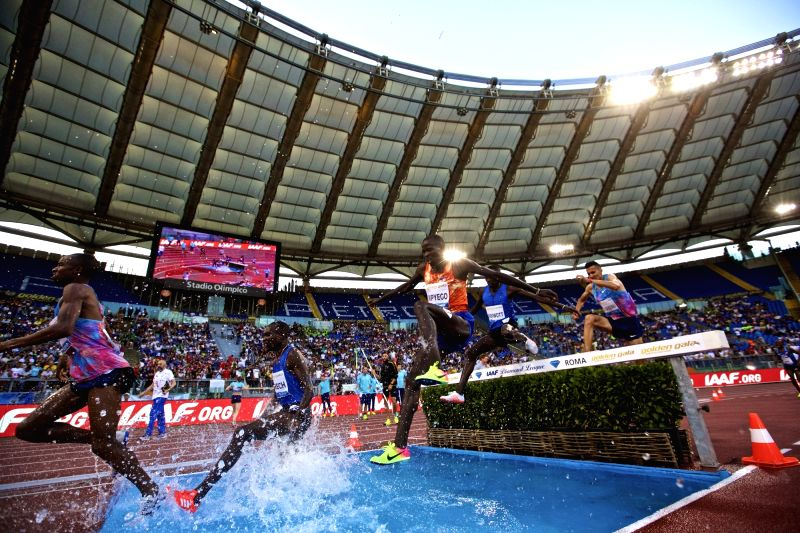 ROME, June 9, 2017 - Conseslus Kipruto (C) of Kenya competes during the men's 3000m steeplechase event at the Rome's Golden Gala Pietro Mennea, part of IAAF Diamond League competition in Rome, Italy, ...