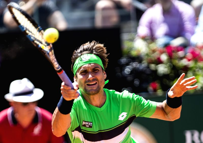 ROME, May 18, 2017 - David Ferrer of Spain returns the ball during the second round of men's singles against Kei Nishikori of Japan at the Italian Open tennis tournament in Rome, Italy, May 17, 2017. ...