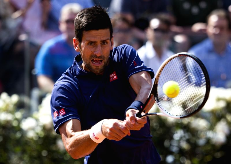ROME, May 19, 2017 - Novak Djokovic of Serbia returns the ball during the third round match of men's singles against Roberto Bautista Agut of Spain at the Italian Open tennis tournament in Rome, ...