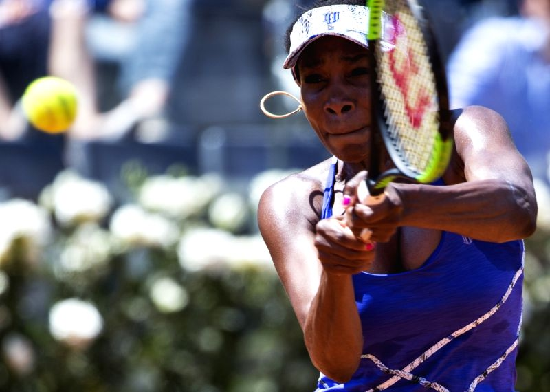 ROME, May 19, 2017 - Venus Williams of the United States returns the ball during the third round match of women's singles against Johanna Konta of Britain at the Italian Open tennis tournament in ...