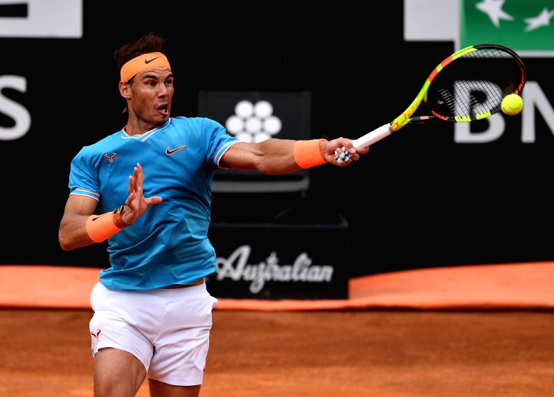 ROME, May 19, 2019 (Xinhua) -- Rafael Nadal of Spain returns the ball during the men's singles semifinal match against Greek Stefanos Tsitsipas at the Italian Open Tennis tournament in Rome, Italy, on May 18, 2019. Rafael Nadal won 2-0. (Xinhua/Alber