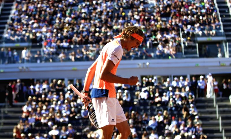 ROME, May 21, 2017 - Germany's Alexander Zverev celebrates scoring during the semifinal match of men's singles against John Isner of the United States at the Italian Open tennis tournament in Rome, ...