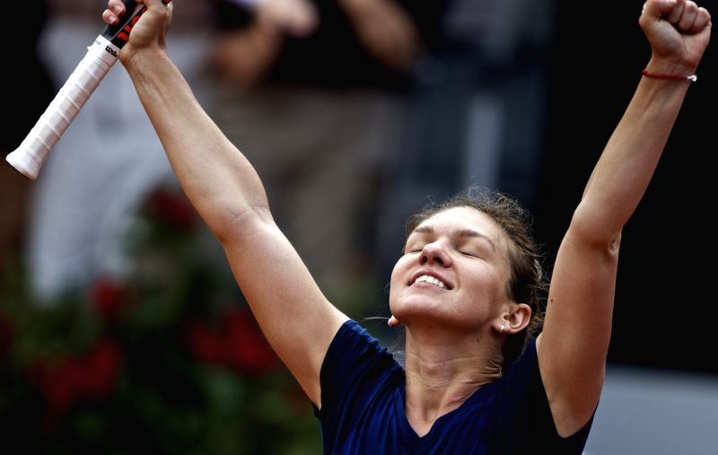 ROME, May 21, 2017 - Romania's Simona Halep celebrates after winning the semifinal match of women's singles against Netherlands' Kiki Bertens at the Italian Open tennis tournament in Rome, Italy, May ...
