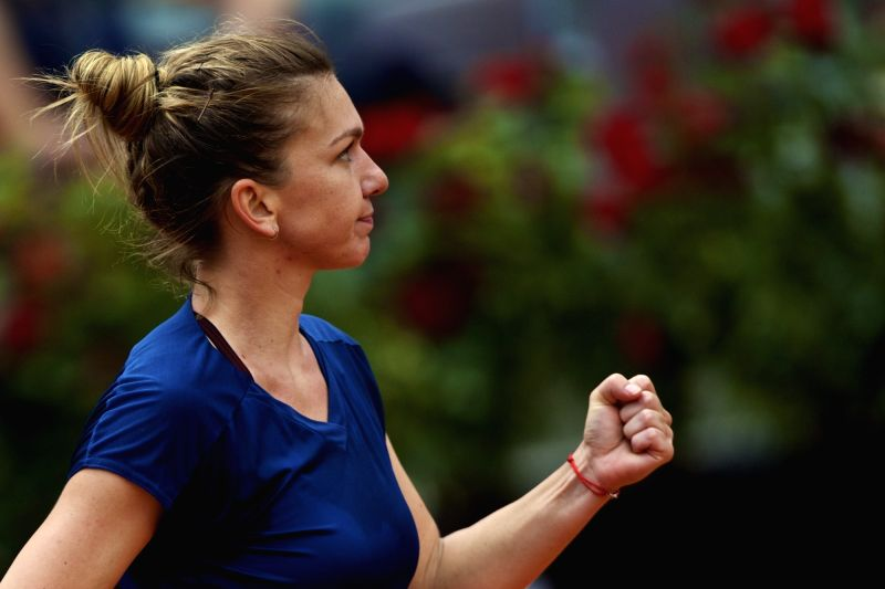 ROME, May 21, 2017 - Romania's Simona Halep celebrates scoring during the semifinal match of women's singles against Netherlands' Kiki Bertens at the Italian Open tennis tournament in Rome, Italy, ...