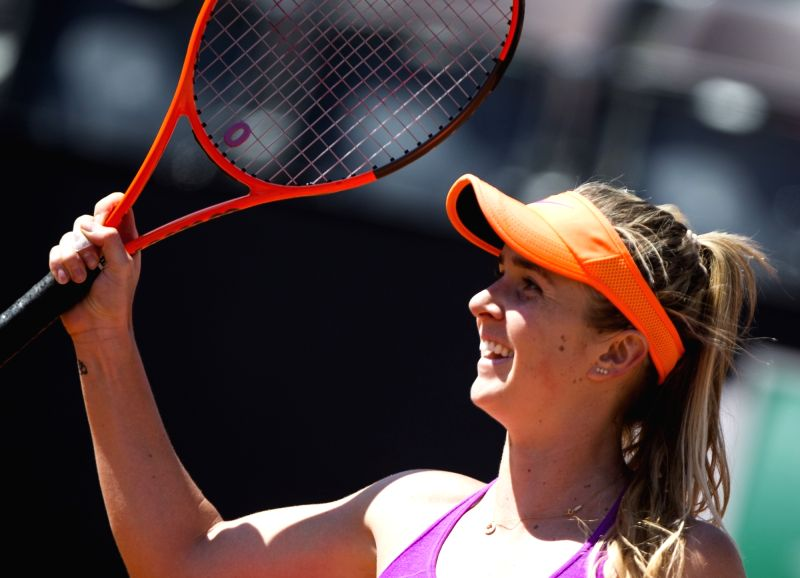 ROME, May 22, 2017 - Ukraine's Elina Svitolina celebrates after she won the final match of women's singles against Romania's Simona Halep at the Italian Open tennis tournament in Rome, Italy, May 21, ...