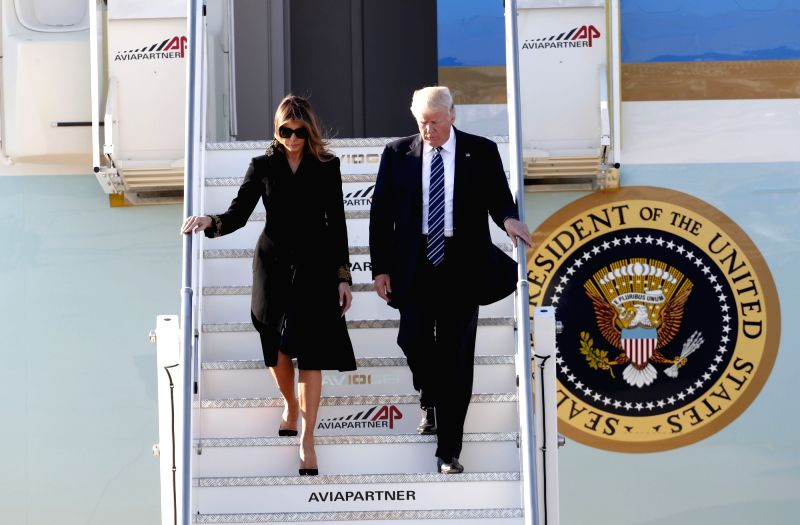 ROME, May 23, 2017 - U.S. President Donald Trump and First Lady Melania Trump arrive at the Leonardo da Vinci-Fiumicino Airport in Rome, Italy, May 23, 2017. U.S. President Donald Trump arrived in ...