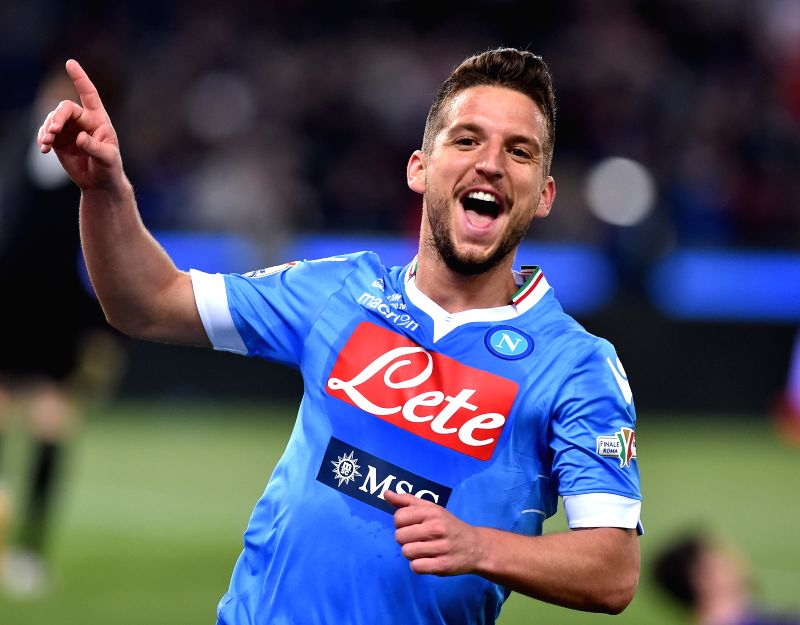Dries Mertens of Napoli celebrates for his goal during the final match against Florentina at the Italian Cup in Rome, Italy, May 3, 2014. Napoli won 3-1 to claim the ...