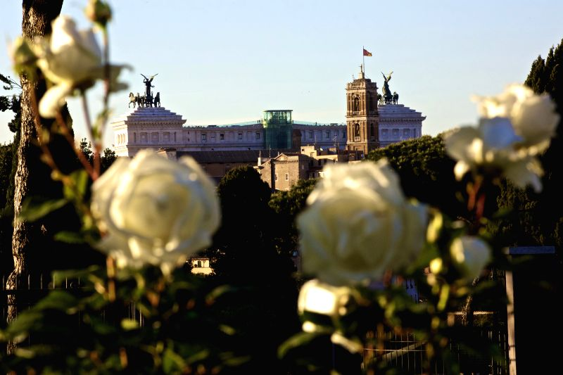 ROME, May 4, 2017 - Venice Palace (Palazzo Venezia) is seen from the Rome Rose Garden in Rome, Italy, on May 3, 2017. Rome Rose Garden is located at the foot of Aventine Hill, hosting about 1,100 ...
