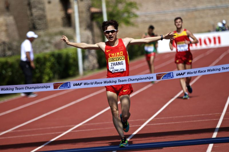 ROME, May 7, 2016 - China's Zhang Jun sprints towards the finish line during the 10km U20 race final for men at the IAAF World Race Walking Team Championships in Rome, Italy, May 7, 2016. Zhang Jun ...