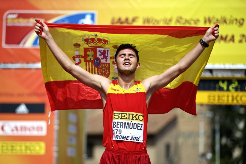 ROME, May 7, 2016 - Manuel Bermudez of Spain celebrates after the Men's 10km U20 race final at the IAAF World Race Walking Team Championships in Rome, Italy, May 7, 2016. Manuel Bermudez took the ...