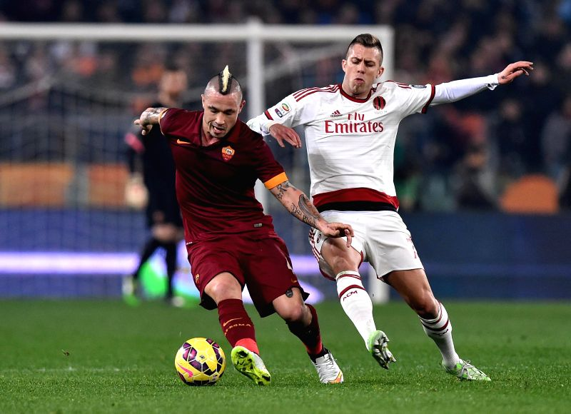Radja Nainggolan of AS Roma in action during a Serie A match between AS Roma and AC Milan at Stadio Olimpico in Rome, Italy on Dec 20, 2014.