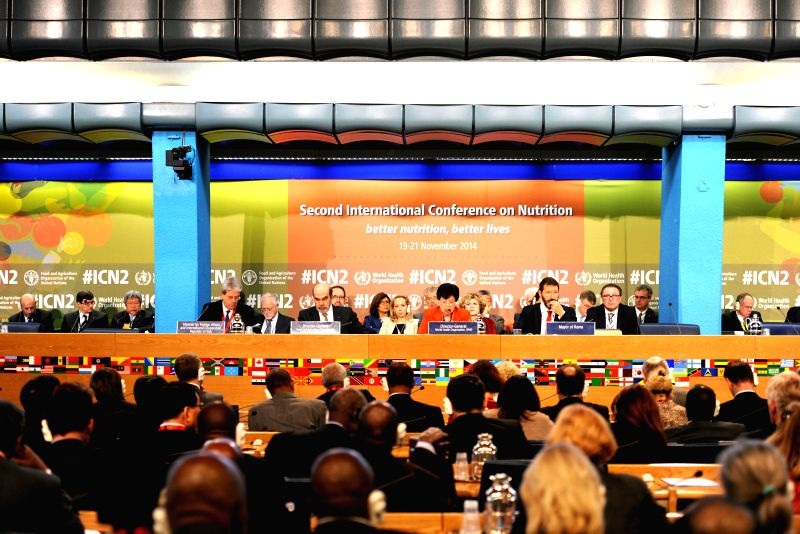 The 2nd International Conference on Nutrition is held in Rome, Italy, on Nov. 19, 2014.