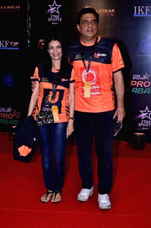 Ronnie Screwvala, CEO, UTV Group with wife Zarina Mehta during the finals of the Pro Kabaddi League between Jaipur Pink Panthers and U Mumba in Mumbai on August 31, 2014. - Zarina Mehta