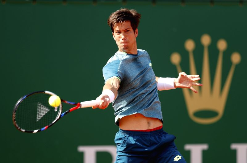 ROQUEBRUNE-CAP-Aljaz Bedene of Slovenia returns the ball to Rafael Nadal of Spain during the second round match of 2018 Monte-Carlo Masters in ...