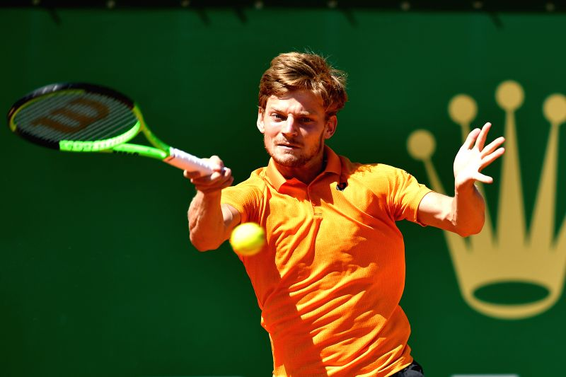 ROQUEBRUNE-CAP-David Goffin of Belgium returns the ball during the first round match of 2017 Monte-Carlo Masters against Steve Darcis of Belgium in ...