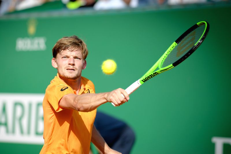 ROQUEBRUNE-CAP-David Goffin of Belgium returns the ball to Rafael Nadal of Spain during their semifinal match at the ATP World Tour Masters Monte Carlo in ...